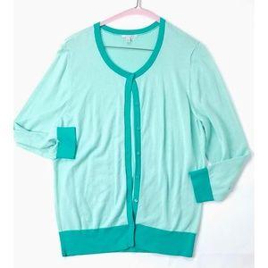 Halogen Ladies Seafoam Button Front Jacket